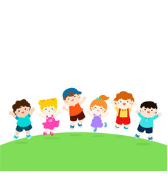 blank template happy school multiracial children vector image