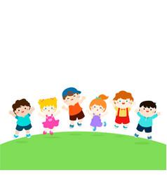 Blank template happy school multiracial children vector