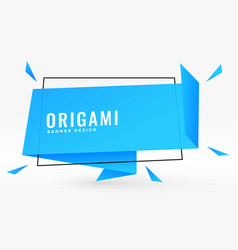 Blue origami chat bubble style banner vector
