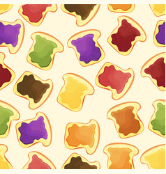 bread slice toast with jam - seamless pattern vector image