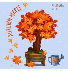 Bright autumn maple tree card vector