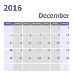 Calendar December 2016 week starts from Sunday vector image