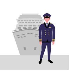 Captain cruise boat maritime work vector
