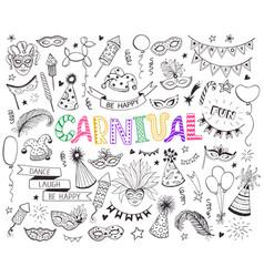 Carnival doodle set vector
