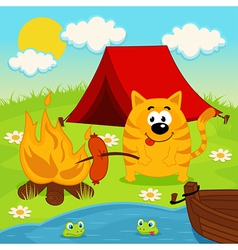 Cat on camping vector
