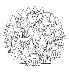 Circle shape coloring page with doodle mountains vector