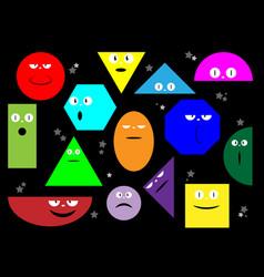 colorful set various bright basic geometric emoji vector image