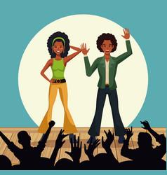couple of disco dancers vector image