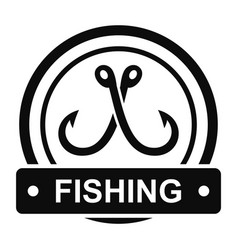 crossed fishing hook logo simple style vector image