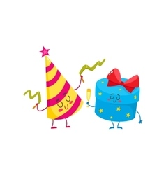 Cute funny smiling gift box and birthday hat vector image