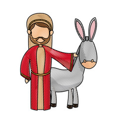 Cute joseph and donkey manger design vector