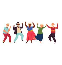 Dancing seniors elderly party senior people vector