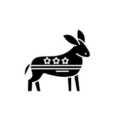 democratic ass black icon sign on isolated vector image