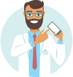 doctor pointing on smartphone vector image