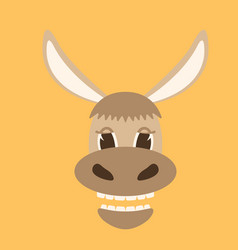 donkey cartoon faceflat style vector image