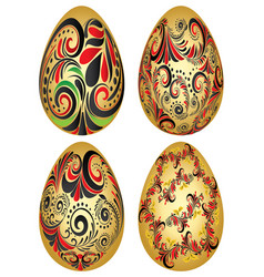 easter eggs with folk patterns vector image vector image