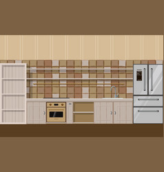 empty kitchen with fridge sink oven and cupboard vector image