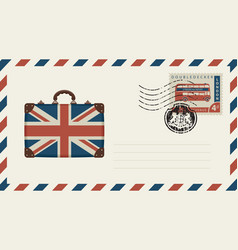Envelope with suitcase in colors of british flag vector