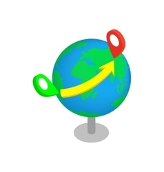 Flight around the world 3d isometric icon vector image