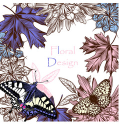 floral background with butterflies and flowers vector image