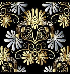 Floral chamomile flowers greek key seamless vector