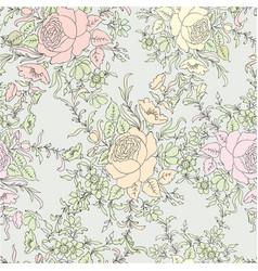 Flower roses floral seamless background flower vector