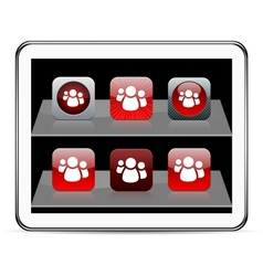 Forum red app icons vector