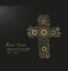 funeral template with flower cross and place for vector image