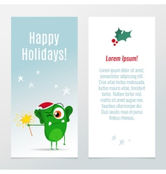 Funny Christmas and New Year holiday banner vector image