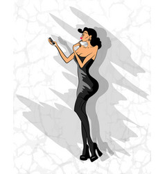 Glamorous lady makes selfie on her phone vector
