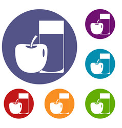 Glass of drink and apple icons set vector