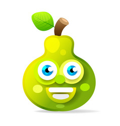 green juicy stylized pear with leaf icon for vector image