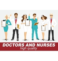 group of doctors and nurses set vector image