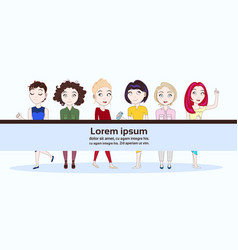 group of young modern women in trendy clothes vector image