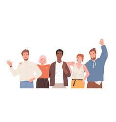 group portrait diverse happy young people vector image