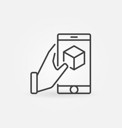 Hand holding smartphone with cube inside vector