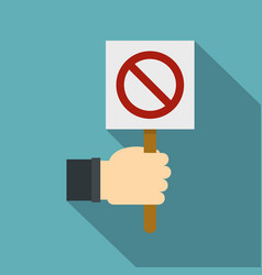 hand holding stop sign icon flat style vector image