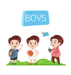 Happy boys characters outdoor activity vector