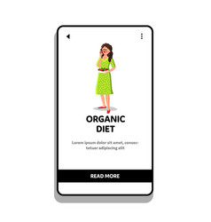 Healthy organic diet nutrition eating woman vector