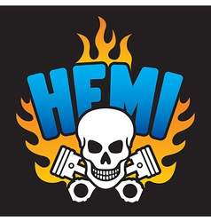 Hemi Skull and Pistons vector image