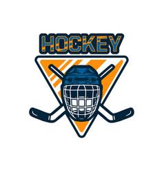 hockey logo badge team template with helmet vector image