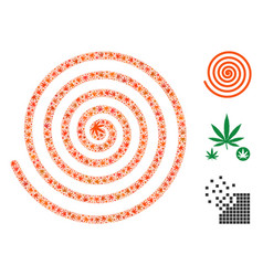 Hypnosis spiral collage of cannabis vector