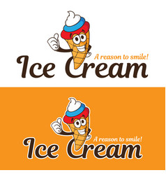ice cream cone cartoon character with cream color vector image