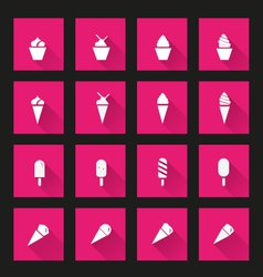 Ice cream icons long Shadow vector image vector image