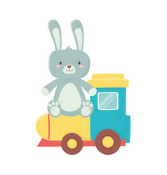 Kids toy plastic train and rabbit toys vector