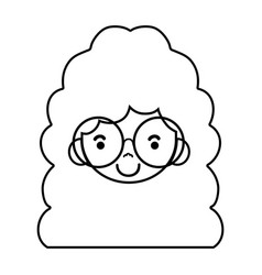 line girl face with glasses and hairstyle design vector image