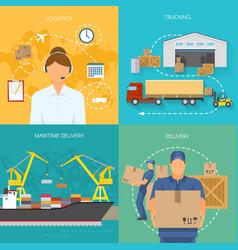 logistics flat compositions vector image