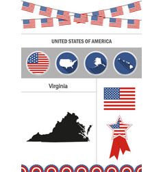 Map of virginia set of flat design icons vector