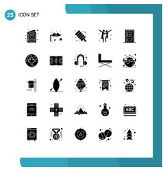Mobile interface solid glyph set 25 pictograms vector