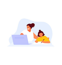 mom freelancer works at home with a child vector image